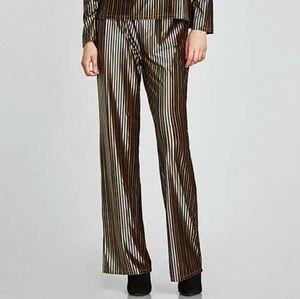 Zara Metallic Striped Velvet Straight Leg Pants